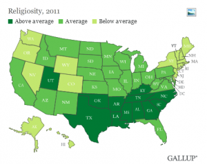 America's Most & Least Religious States